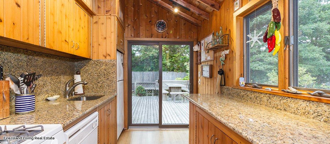 Kitchen in three bedroom summer rental in Fair Harbor