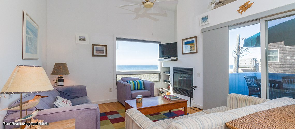 Living Area in Saltaire Fire Island Home for Sale