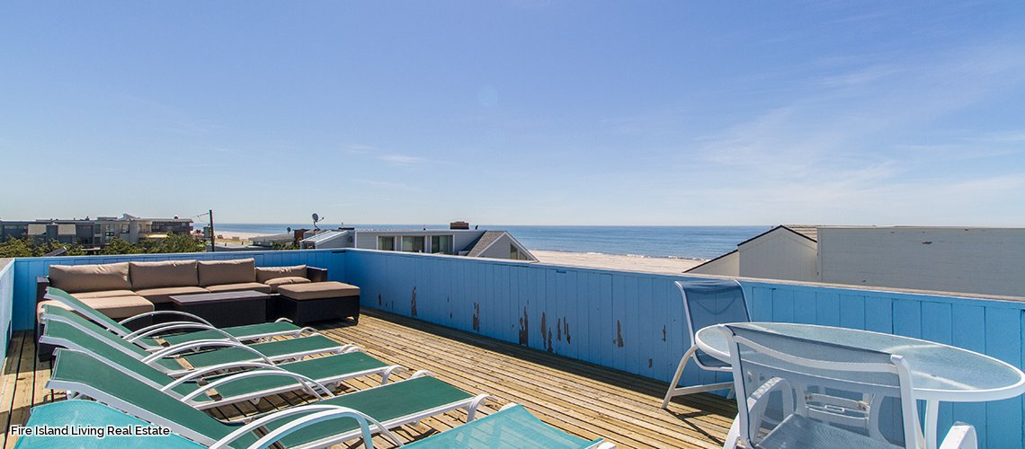 Roof deck in Fire Island summer home for sale