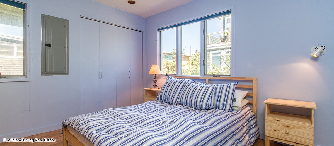 Guest Bedroom in Saltaire Fire Island beach house for sale