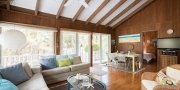 Open concept living in Saltaire Fire Island summer rental on an ocean side block